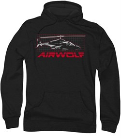 Image of Airwolf Grid Hoodie Sweatshirt Black Adult Hoody Sweat Shirt