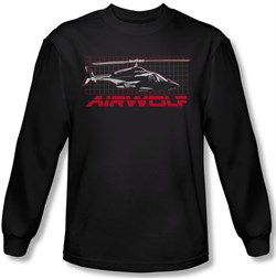 Image of Airwolf Grid Long Sleeve Black Tee T-Shirt