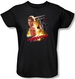Image of Airwolf Ladies T-shirt Airwolf Collage Black Tee Shirt