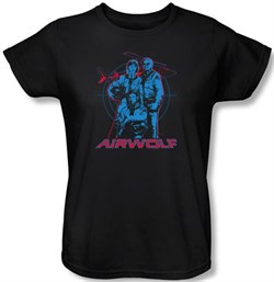 Image of Airwolf Ladies T-shirt Graphic Black Tee Shirt