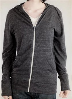 Image of Alternative Apparel Full Zip Hoodie Sweatshirt Eco Black Heather Hoody