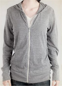 Image of Alternative Apparel Full Zip Hoodie Sweatshirt Eco Grey Heather Hoody