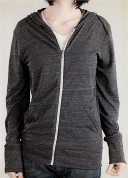 Image of Alternative Apparel Ladies Hoodie Sweatshirt Heather Zip Black Hoody