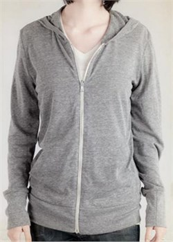 Image of Alternative Apparel Ladies Hoodie Sweatshirt Heather Zip Grey Hoody