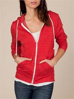 Image of Alternative Apparel Full Zip Hooded Hoody Eco True Red Fleece Hoody