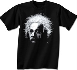 Image of Albert Einstein Shirt Big Einstein Portrait Adult Black T-shirt
