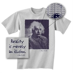 Image of Albert Einstein Shirt Reality is Merely An Illusion Adult Grey T-shirt