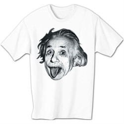 Image of Albert Einstein Shirt Sticking Tongue Out Funny White T-shirt