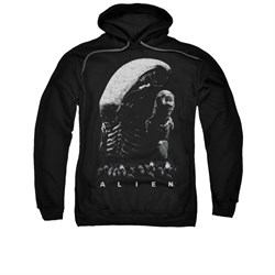 Image of Alien Hoodie Black And White Black Sweatshirt Hoody