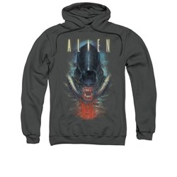Image of Alien Hoodie Bloody Jaw Charcoal Sweatshirt Hoody