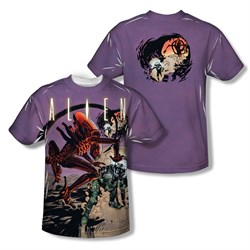 Image of Alien Shirt Attacking Comic Sublimation Shirt Front/Back Print