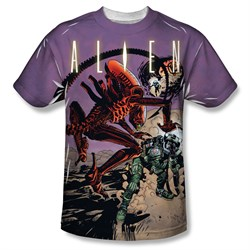 Image of Alien Shirt Attacking Comic Sublimation Shirt