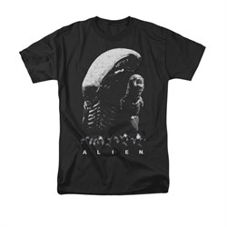 Image of Alien Shirt Black And White Black T-Shirt