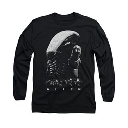 Image of Alien Shirt Black And White Long Sleeve Black Tee T-Shirt