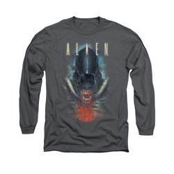 Image of Alien Shirt Bloody Jaw Long Sleeve Charcoal Tee T-Shirt