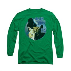Image of Alien Shirt Dont Care Long Sleeve Kelly Green Tee T-Shirt
