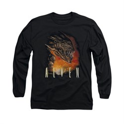 Image of Alien Shirt Fangs And Fire Long Sleeve Black Tee T-Shirt