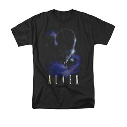 Image of Alien Shirt Galaxy Black T-Shirt