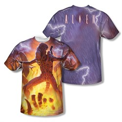 Image of Alien Shirt Lightning And Fire Sublimation Shirt Front/Back Print