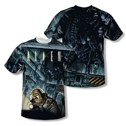 Image of Alien Shirt Lurking Comic Sublimation Shirt Front/Back Print