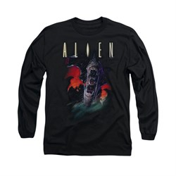 Image of Alien Shirt Mouths Long Sleeve Black Tee T-Shirt