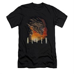 Image of Alien Shirt Slim Fit Fangs And Fire Black T-Shirt
