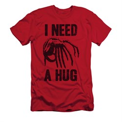 Image of Alien Shirt Slim Fit Need A Hug Red T-Shirt