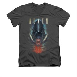Image of Alien Shirt Slim Fit V Neck Bloody Jaw Charcoal T-Shirt