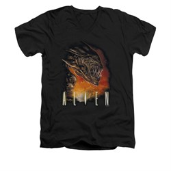 Image of Alien Shirt Slim Fit V Neck Fangs And Fire Black T-Shirt