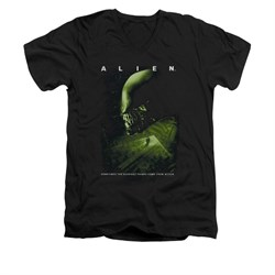 Image of Alien Shirt Slim Fit V Neck From Within Black T-Shirt