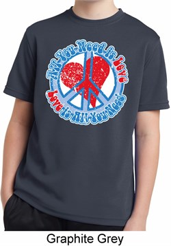 Image of All You Need is Love Kids Moisture Wicking Shirt