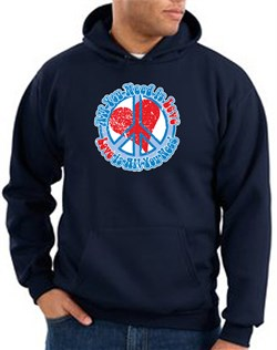 Peace Sign Hoodie Sweatshirt - All You Need Is Love Adult Hoody - Navy