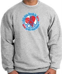 Image of Peace Sign Sweatshirt - All You Need Is Love Heart - Athletic Heather