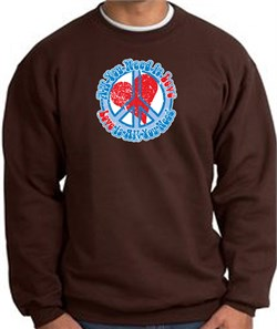 Image of Peace Sign Sweatshirt - All You Need Is Love - Brown