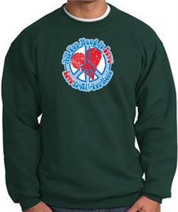 Image of Peace Sign Sweatshirt - All You Need Is Love - Dark Green