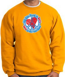 Peace Sign Sweatshirt - All You Need Is Love - Gold