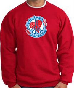 Image of Peace Sign Sweatshirt - All You Need Is Love - Red