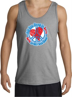 Image of Peace Sign Tanktop - All You Need Is Love Adult - Sport Grey