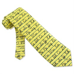 Image of Alphabet Tie Yellow Microfiber Necktie - Mens Occupational Neck Tie