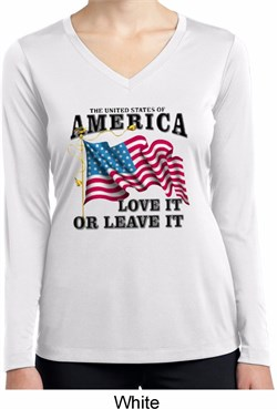 America Love It or Leave It Ladies Dry Wicking Long Sleeve Shirt