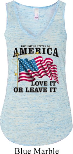 America Love It or Leave It Ladies Flowy V-neck Tank Top