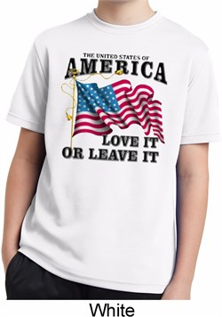 America Love It or Leave It White Kids Moisture Wicking Shirt