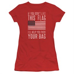 Image of American Flag Juniors Shirt Pack Your Bag Red T-Shirt
