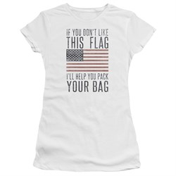 Image of American Flag Juniors Shirt Pack Your Bag White T-Shirt