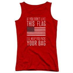 Image of American Flag Juniors Tank Top Pack Your Bag Red Tanktop