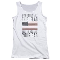 Image of American Flag Juniors Tank Top Pack Your Bag White Tanktop