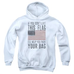Image of American Flag Kids Hoodie Pack Your Bag White Youth Hoody