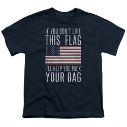 Image of American Flag Kids Shirt Pack Your Bag Navy T-Shirt