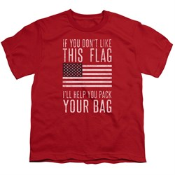 Image of American Flag Kids Shirt Pack Your Bag Red T-Shirt