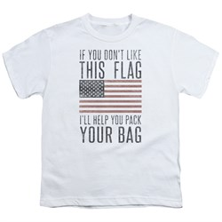Image of American Flag Kids Shirt Pack Your Bag White T-Shirt